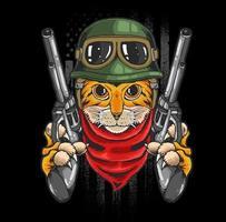 guerriero gatto con pistole vettore