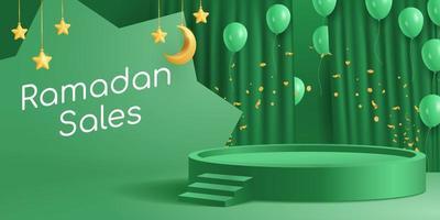 Podio di banner islamico 3d per le vendite di ramadan in colore verde con mezzaluna di palloncini a tendina vettore