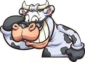 mucca che indossa occhiali da sole vettore
