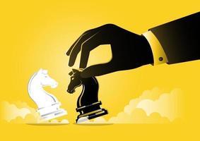 mano dell'uomo d'affari che tiene pezzo nero del cavaliere degli scacchi, concetto strategico vettore