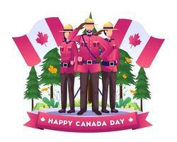 soldati canadesi in piedi rispettosamente celebrando il giorno dell'indipendenza del canada con le bandiere nazionali il 1 ° luglio illustrazione vettore