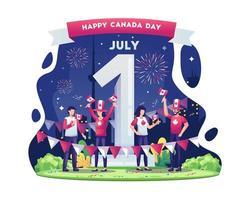 la gente celebra la giornata nazionale del canada il 1 ° luglio con i fuochi d'artificio giganti numero uno e l'illustrazione delle bandiere vettore