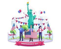 la gente ci celebra il giorno dell'indipendenza con bandiere e palloncini felice il 4 luglio illustrazione del giorno dell'indipendenza degli stati uniti vettore
