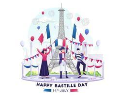 le persone felici celebrano il giorno della bastiglia il 14 luglio giornata nazionale della francia illustrazione vettore