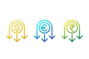 ridurre i costi icona linea con dollaro euro e rupia vettore