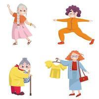 insieme di diverse donne anziane vettore