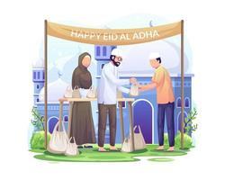 le persone distribuiscono carne sacrificale su eid al adha felice celebrare eid al adha mubarak illustrazione vettoriale
