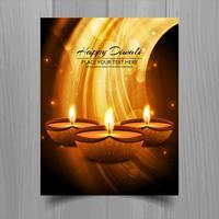 Bella felice diwali diya opuscolo modello di festival lampada ad olio vettore
