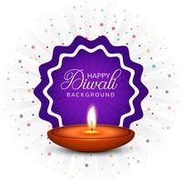 Fondo felice della carta di festival della lampada a olio di Diya di diwali vettore