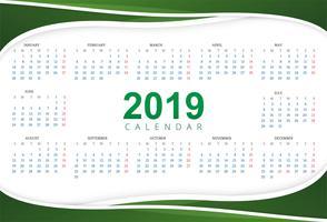 Calendario 2019 Modello con sfondo di onda