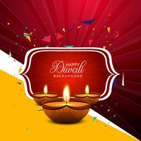 Illustrazione felice del fondo della carta di festival della lampada a olio di Diya di diwali vettore