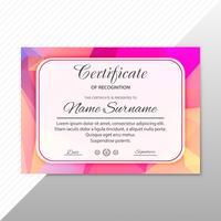 Estratto certificato creativo di apprezzamento modello di premio des