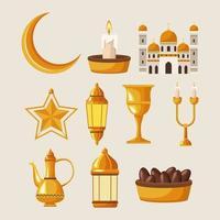 dieci icone di ramadan kareem vettore