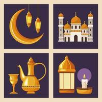 quattro icone di ramadan kareem vettore