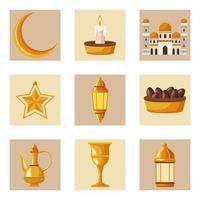 nove icone di ramadan kareem vettore