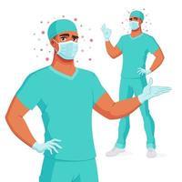 medico in guanti maschera scrub presentando e mostrando illustrazione vettoriale ok