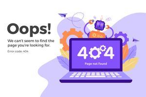 Errore 404 pagina Web non disponibile. File non trovato concetto vettore