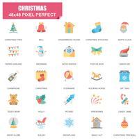 Insieme semplice delle icone piane di vettore relative di Natale