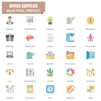 Insieme semplice delle icone piane di vettore relative degli articoli per ufficio