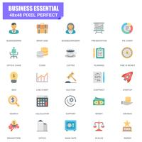 Insieme semplice di icone piane di vettore relative essenziali essenziali di affari