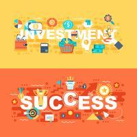 Investimento e successo insieme di concetto piatto