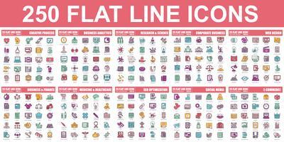 Semplice set di icone vettoriali linea piatta. Pacchetto pittogramma lineare.