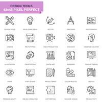 Set di icone di strumenti di disegno semplice linea per applicazioni web e mobile