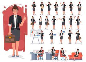Set di creazione del personaggio della donna di affari. Mostrando la progettazione di vettore del carattere di diversi gesti.