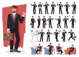Set di creazione del personaggio dell'uomo d'affari. Mostrando la progettazione di vettore del carattere di diversi gesti.