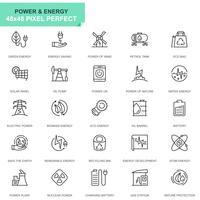 Set semplice di icone per la produzione di energia e di energia per applicazioni web e mobili vettore
