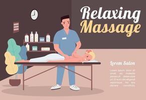 modello di vettore piatto banner massaggio rilassante