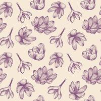 seamless pattern di zafferano. fiore di croco su un motivo di sfondo blu. illustrazione vettoriale disegnato a mano