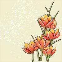 illustrazione vettoriale astrazione di crochi fiori d'arancio con foglie su uno sfondo giallo