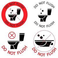 non tirare lo sciacquone senza icone di divieto dei rifiuti vettore