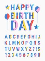 Carattere geometrico a strisce a fette con testo buon compleanno