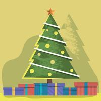 Illustrazione decorata di vettore dell'albero di Natale e dei presente di Natale