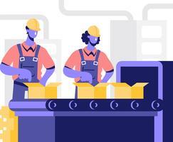 Illustrazione del lavoratore di fabbrica vettore