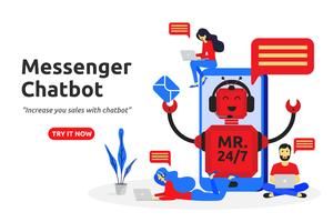 Messenger chatbot concetto moderno design piatto. assistente virtuale