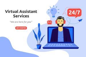 Progettazione piana moderna di concetto online di servizi di assistente virtuale online. ve