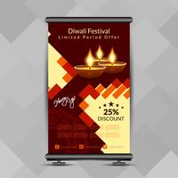 Diwali felice alla moda astratto rotola sul modello di progettazione dell'insegna