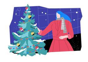 Donna che decora l'illustrazione piana di vettore degli alberi di Natale