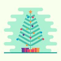 Albero di Natale con la ghirlanda, le campane, i regali e una stella sull'illustrazione superiore di vettore