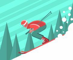 Illustrazione di sciatore vettore