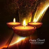 Illustrazione felice del fondo di festival della lampada a olio di Diya di diwali vettore