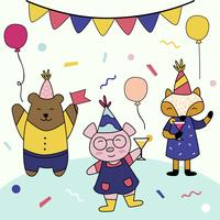 Festa di compleanno con il vettore di carattere animale