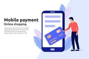 Servizio online di pagamento mobile per il sito web aziendale moderno, socia vettore