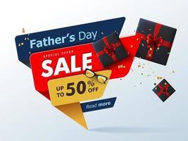 banner di vendita felice giorno di padri con regalo per papà su sfondo bianco vettore