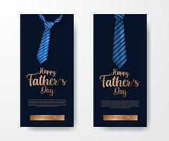 invito di banner di storie di social media di lusso elegante alla moda per la festa del papà con cravatta illustrazione con sfondo blu vettore