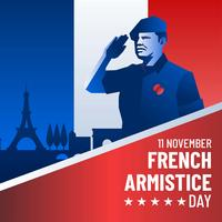 Vettore francese di saluto di giorno di armistizio