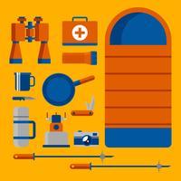 Vettore di Knolling delle attrezzature di campeggio dell'attrezzatura